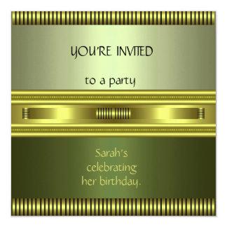Invitation Elegant Green Gold Avocado Stripe duo 2