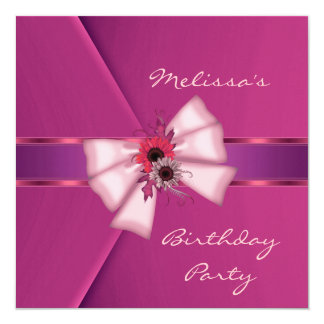 "Invitation Elegant Pink Velvet Floral Bow 2 5.25"" Square Invitation Card"