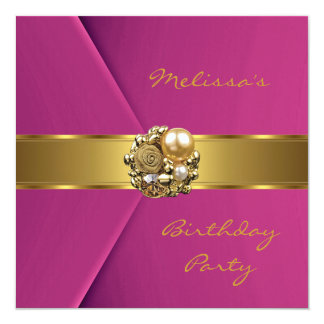 "Invitation Elegant Pink Velvet gold jewel 5.25"" Square Invitation Card"