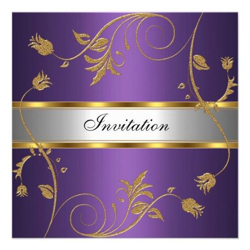 Purple And Silver Wedding Backgrounds: Invitation Elegant Purple Gold Silver Floral Custom