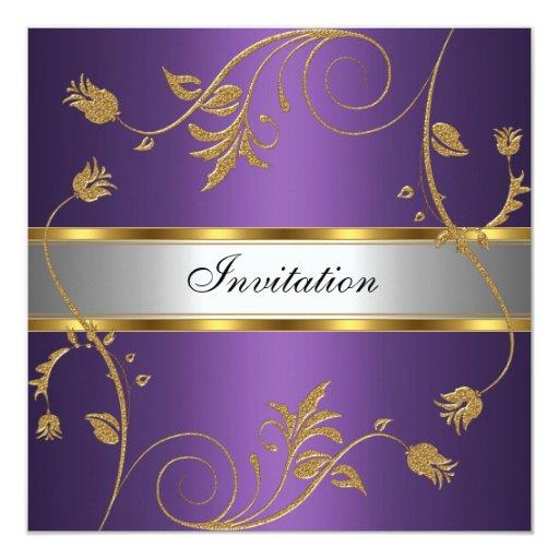 Silver And Purple Blank Invitations: Invitation Elegant Purple Gold Silver Floral