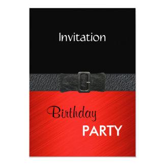 Invitation Elegant Red Black Leather Belt Buckle