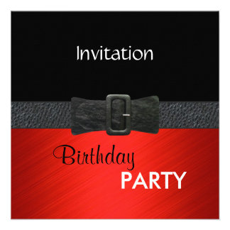 Invitation Elegant Red Black Leather Belt Buckle Announcements