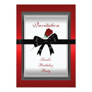 Invitation Elegant Red Rose Black Ribbon Bow 3 Invitations