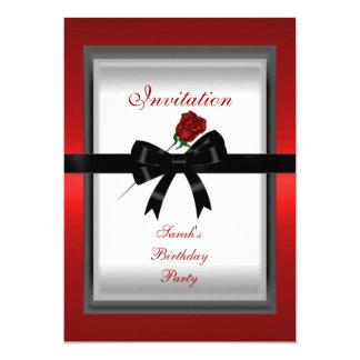 "Invitation Elegant Red Rose Black Ribbon Bow 3 5"" X 7"" Invitation Card"