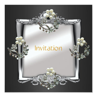 Invitation Elegant Silver Black Jewel Floral Pearl