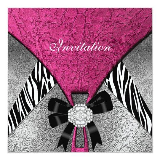 Invitation Elegant Silver Pink Black Jewel Zebra