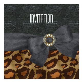 Invitation Elegant Wild Animal Black Gold Jewel