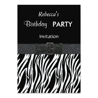 Invitation Elegant Zebra Black Leather Belt Buckle
