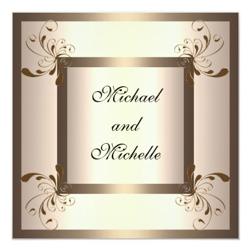 Invitation Engagement Glamour Cream Gold Floral Personalized Announcement