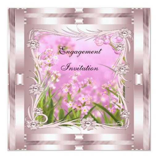 Invitation Engagement Pink Art Deco Floral Custom Announcements