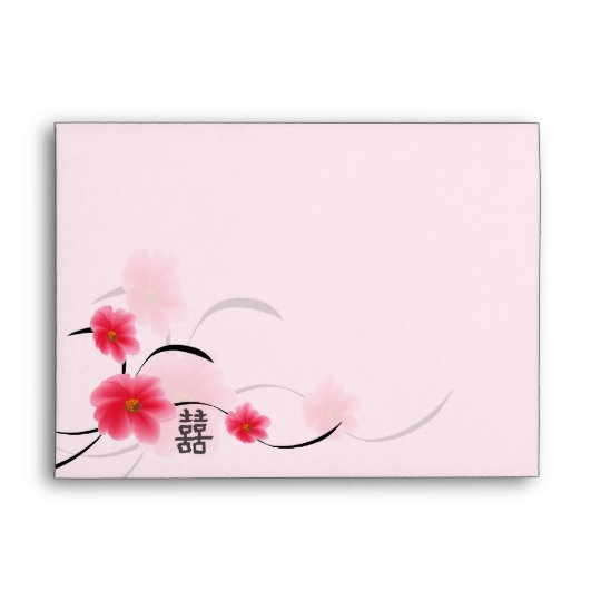 Invitation Envelope Pink Blossom Double Happiness