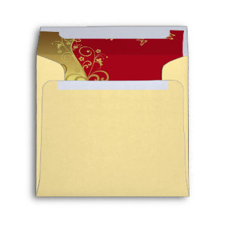 Invitation Envelope--Red & Gold Swirls Envelope