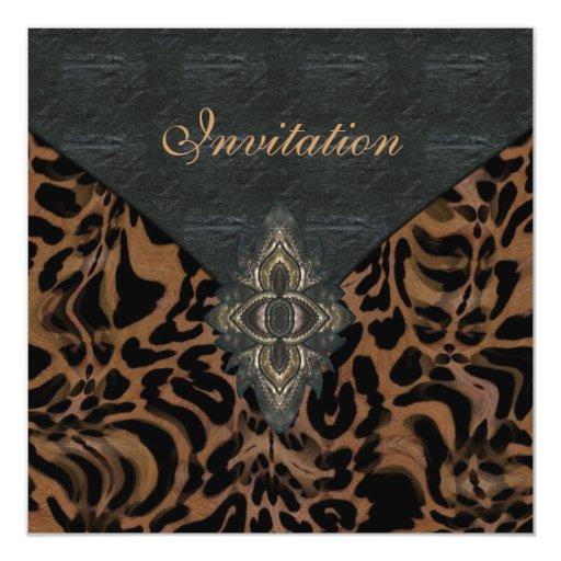 Invitation Exotic Gold Black Animal Leather Personalized Invite