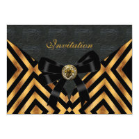 Invitation Exotic Gold Black Stripe Leather