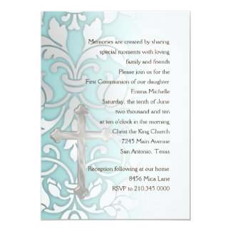 Invitation First Communion Damask and Cross