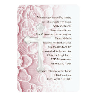Invitation First Communion Lace and Cross Pink