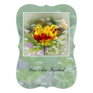 "Invitation, Flowers and Butterfly Card 5"" X 7"" Invitation Card"