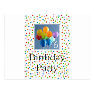 Invitation for 6th Birthday Party Colored Balloons Postcard