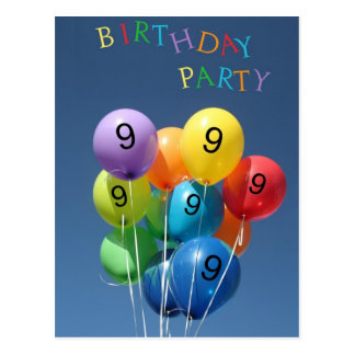 Invitation for 9th Birthday Party Colored Balloons Post Card