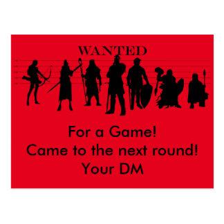 invitation for a rpg game postcard