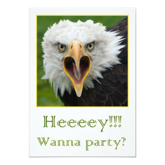 Invitation for party shouting bird or prey