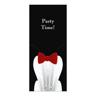 Invitation Formal Birthday Black Red Tie Suit Long