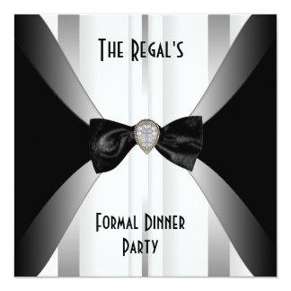 Invitation Formal Dinner Black White Silver Bow