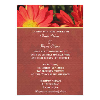 "Invitation from bride and groom. Daisy flowers 5.5"" X 7.5"" Invitation Card"