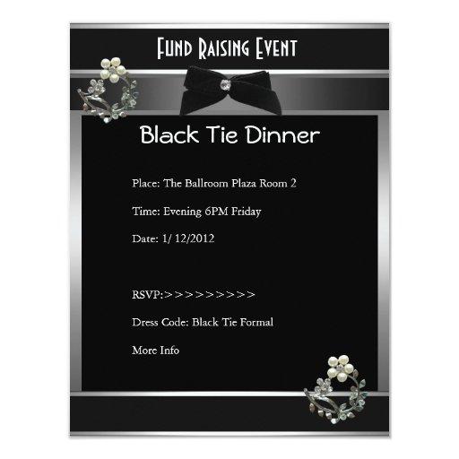 Invitation Fund Raiser Formal Black Tie Silver Custom Announcement