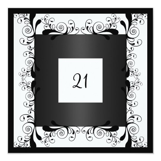 Invitation Glamour White Black Floral