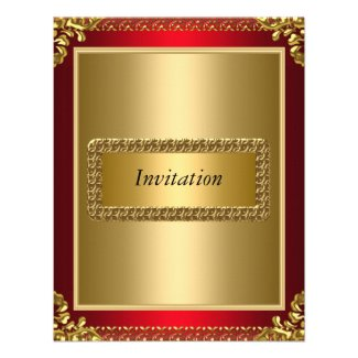 Invitation Gold and Red Art Deco