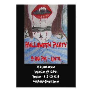 Invitation, Halloween Party Vampire Art 5x7 Paper Invitation Card