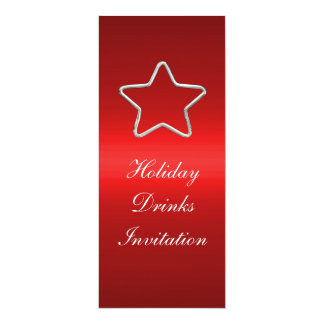 Invitation Holiday Drinks Red Silver Star