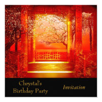 Invitation Invite Birthday Party Asian Scene Red