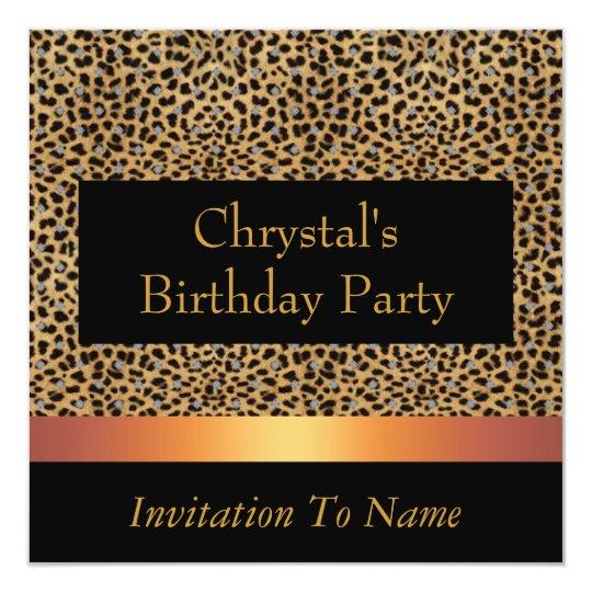 Invitation Leopard Print Invite Birthday Party