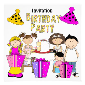 Invitation Lets Party Birthday Girls Boy Announcements