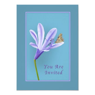 Invitation, Lilac Daylily Flower and Butterfly