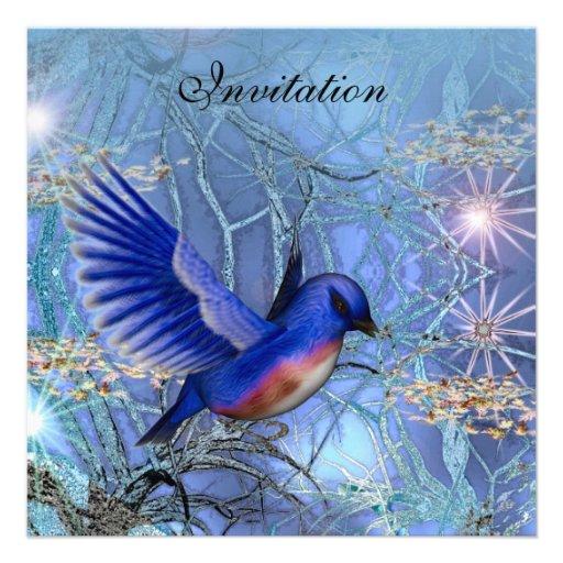 Invitation Magical Blue Birds Blue Invitations