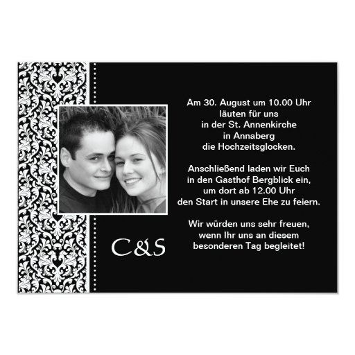 Invitation map to the wedding with Damastmuster