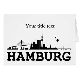 Invitation map with Hamburg Skyline.
