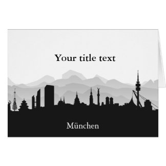 Invitation map with Munich Skyline. Greeting Cards
