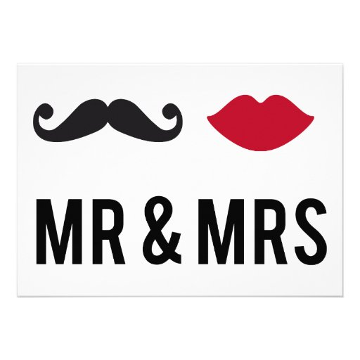 Invitation mr. and mrs. with mustache and red lips
