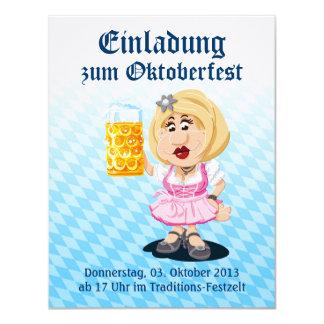 Invitation Oktoberfest Dirndl Cartoon Woman Beer