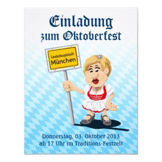 Invitation Oktoberfest Dirndl Woman Munich Sign