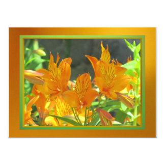 "Invitation - Orangish Flowers - Multipurpose 6.5"" X 8.75"" Invitation Card"