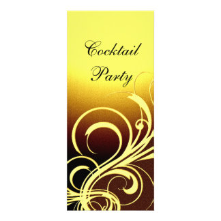 Invitation Party Elegant Yellow Gold Brown Floral Announcements