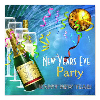 Invitation Party New Years Eve Blue Gold Announcement