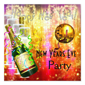 Invitation Party New Years Eve Red Orange Gold