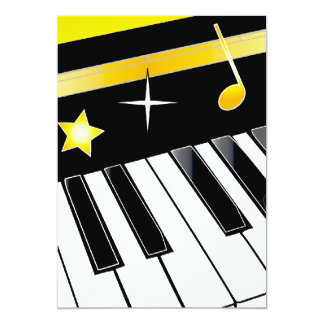 Invitation: Piano Competition Piano Keys with Gold Card